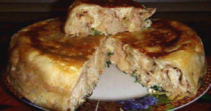 Пирог на кефире с курицей. Пойду опять за кефиром… Ну очень удачный рецепт!