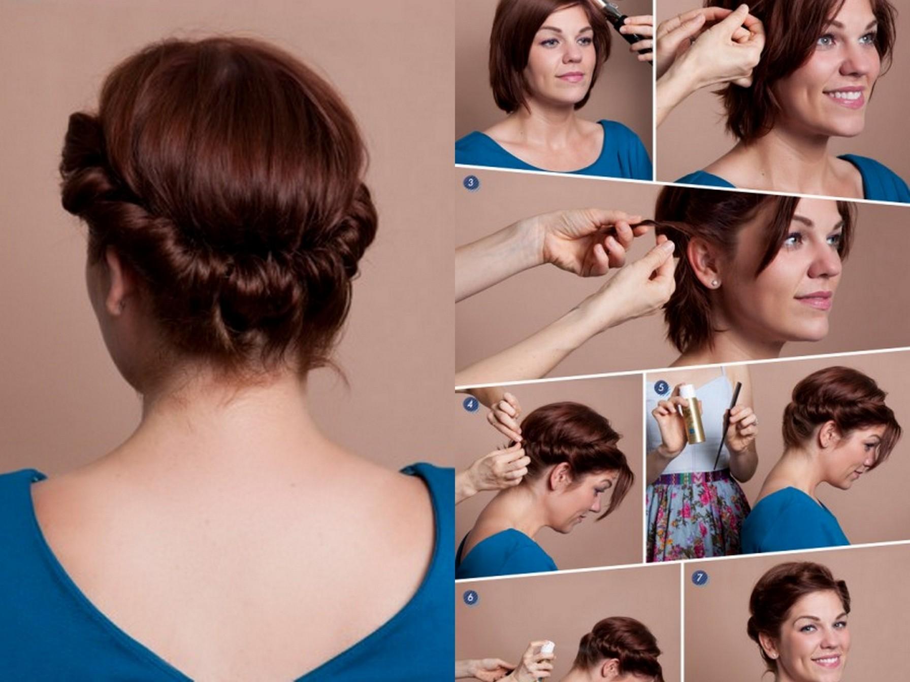 Праздничная прическа на короткие волосы своими руками фото